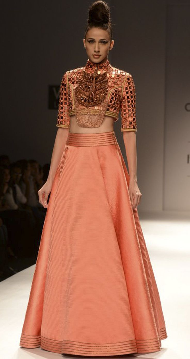 Coral quilted full circle dress by ANAIKKA. http://www.perniaspopupshop.com/wills-fashion-week/annaikka #fashionweek #willslifestyleindiafashionweek