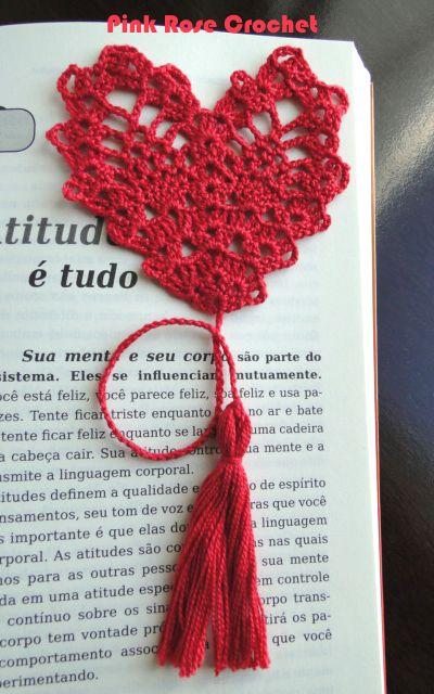 PINK ROSE CROCHET: Marcador de Livros Coração                                 …