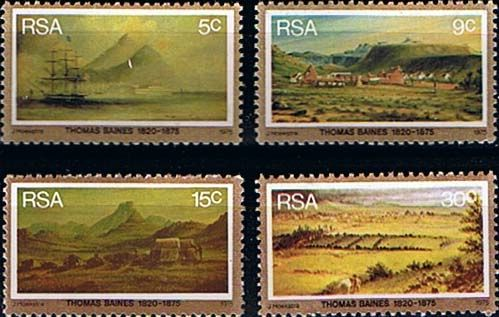 South Africa 1975 Thomas Baines Paintings Set Fine Mint SG 379 82 Scott 443 6 Other South African Stamps HERE