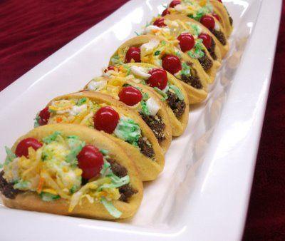 Dessert Tacos! Chocolate icing, buttercream icing, coconut flakes, marachino cherries!