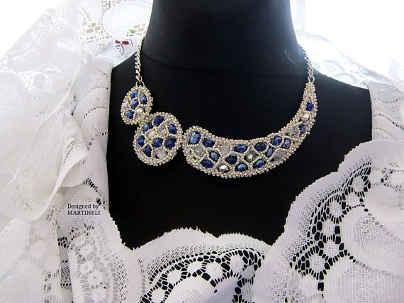 Wedding Statement Necklace Swarovski Blue Swarovski Wedding