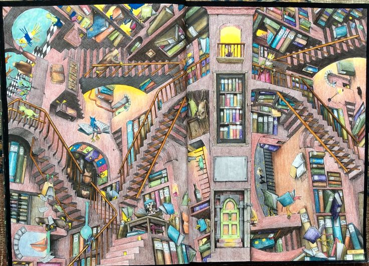 Fantastisches Malbuch. The Great Library coloured by Prue. #ColinThompso
