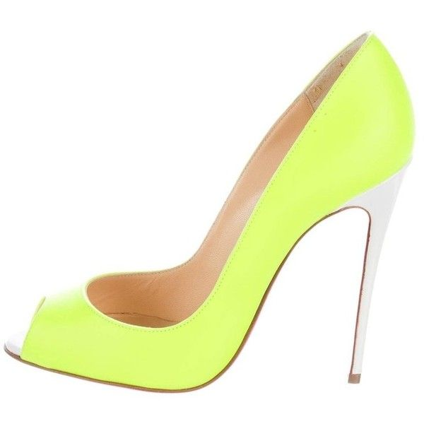 Preowned Christian Louboutin New Sold Out Neon Leather So Kate High... (€1.275) ❤ liked on Polyvore featuring shoes, pumps, heels, yellow, yellow shoes, yellow pumps, neon pumps, leather shoes and neon yellow shoes