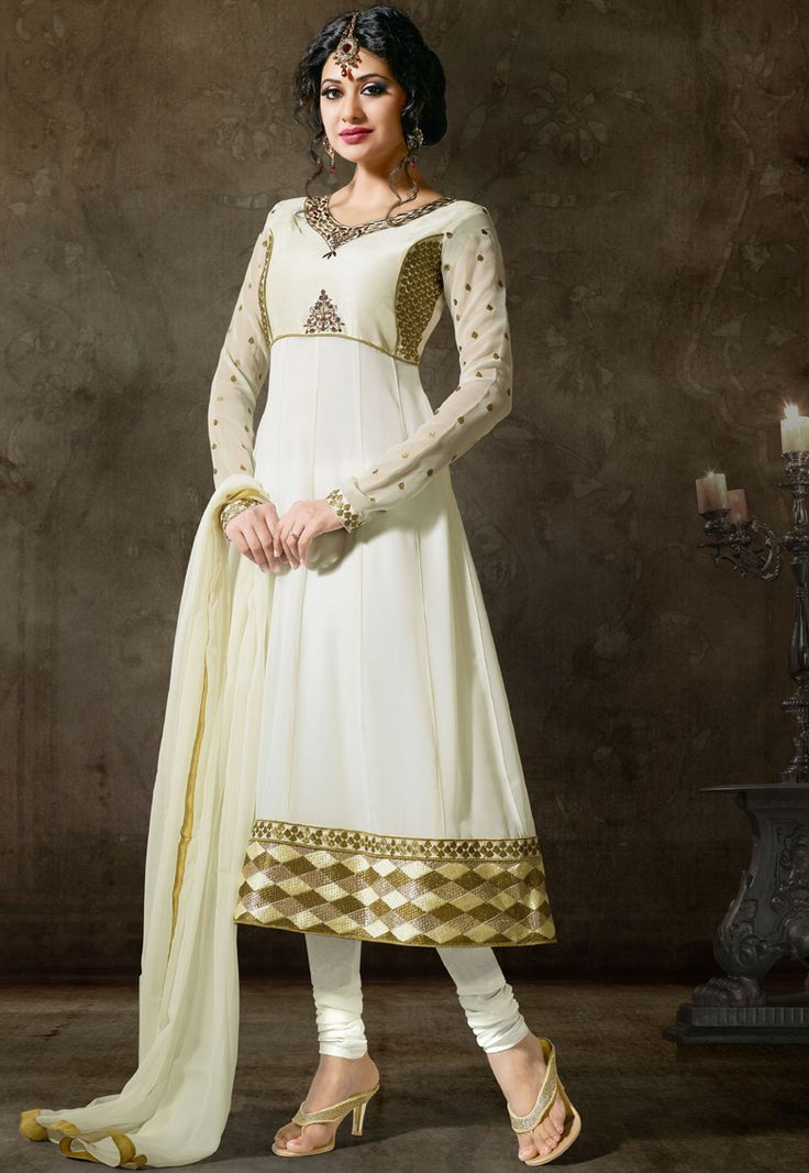 Off White #Georgette Chuddidar Kameez with Dupatta   INR:-5250 With Exciting Discount 25 %!
