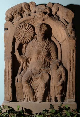 Tullie House Museum, Carlisle, UK Roman tombstone showing a lady with a fan
