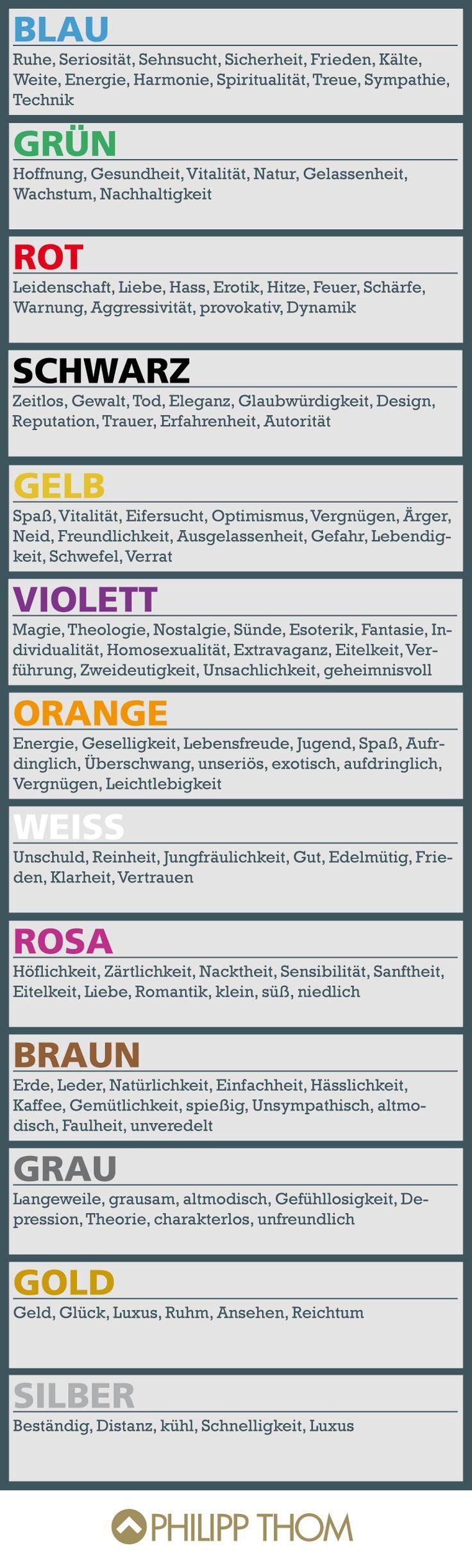 Alles über die Psychologie der einzelnen Farben. Good for oral discussion or vocabulary expansion.