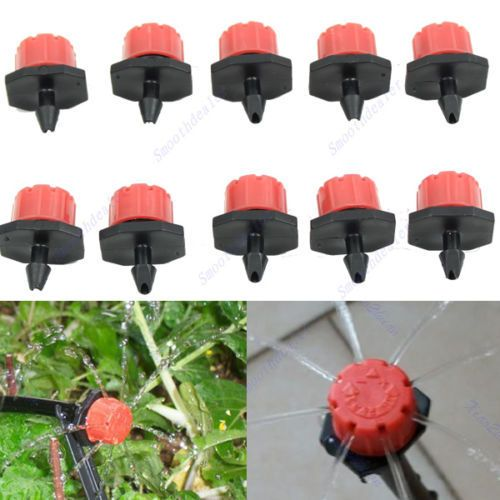 """50pcs Garden Irrigation Misting Micro Flow Dripper Drip Head 1/4'' Hose    Description:   100% Brand new and high quality   8 spray hole and can adjust water flow rate , also for cutting off the water flow   connection: 1/4"""" hose, ID 4mm/ OD 7mm   Material: plastic   For agriculture, lawn, garden sprinkler irrigation drip   Quantity: 50pcs (Please select the number of you need)    ...    US $2.29…"""