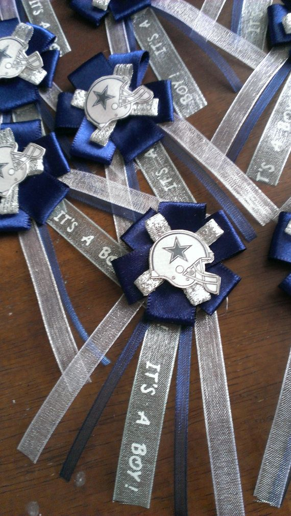 Dallas Cowboys baby shower corsages by LCDecorations on Etsy, $20.00