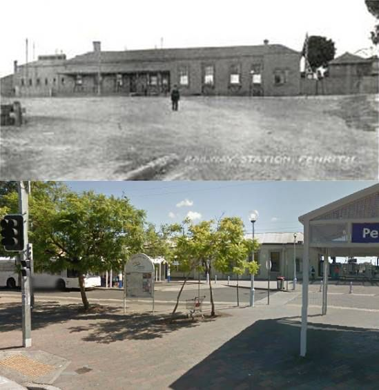 The entrance to Penrith Station in circa 1910 and 2014. [circa 1910 - Penrith City Council/2014 - Google Street View. By Phil Harvey]