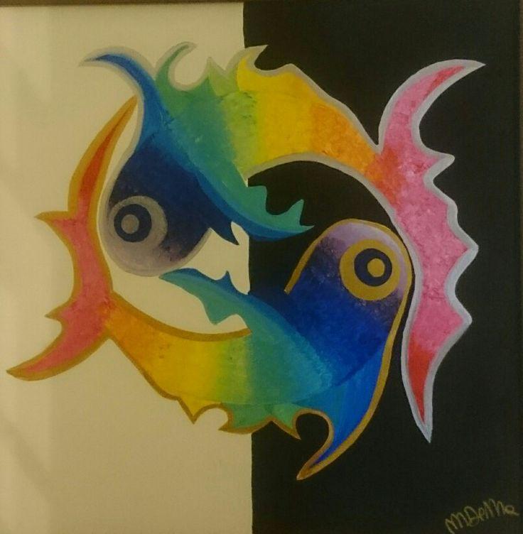Fish yin yang Acrilico 50x50 Di Monica De Mattei