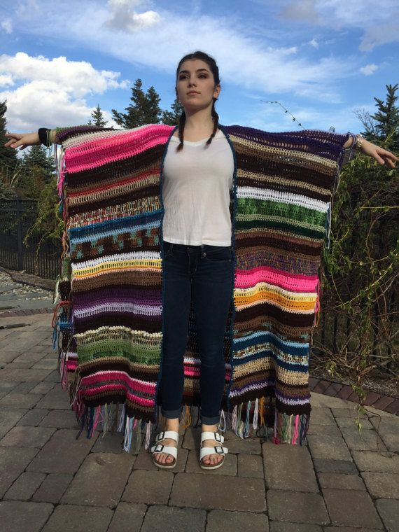 Boho Poncho Festival omslagdoek Hippie Wrap Boheemse kleding