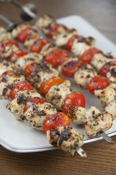 Grilled Pesto Chicken and Tomato Kabobs | Wishes and Dishes