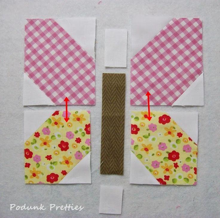 Podunk Pretties: Podunk Posy quilt, Butterfly corner block tutorial