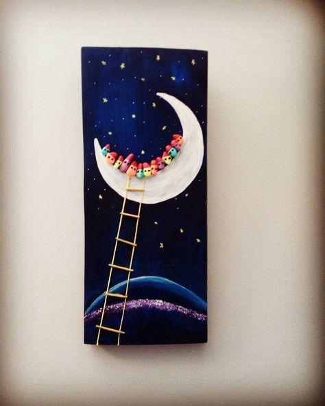 Ayda hayat var.  Günaydın yeni haftaya #tasarım #tasilesanat #elyapımı #handmade # ay #stoneart