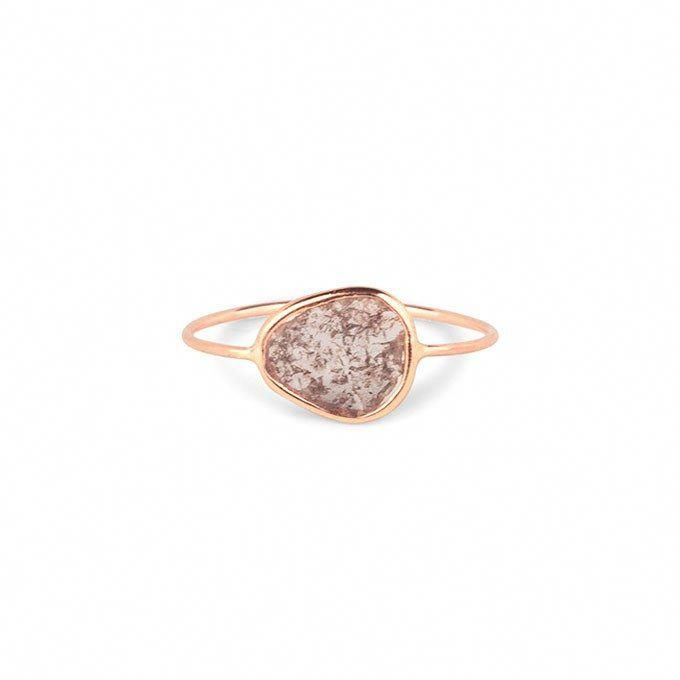 Raw Grey Diamond Bezel Engagement Ring Set In 14k Yellow Gold Price Upon Request