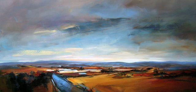 Golden Landscape, 180 x 85cm, Oil on canvas - Sara Paxton
