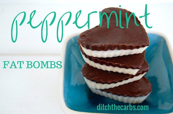 Peppermint Fat Bombs are a fabulous way to get a healthy does of coconut oil and this healthy fat will keep you fuller for longer so keeps hunger away. This recipe is so simple to make. See the website for more fat bomb recipes and flavours. | ditchthecarbs.com