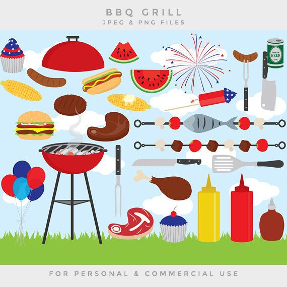 Barbeque clipart - barbecue BBQ clip art family grill grilling USA fourth July summer party US Independence Day personal and commercial use by WinchesterLambourne on Etsy https://www.etsy.com/uk/listing/236967641/barbeque-clipart-barbecue-bbq-clip-art