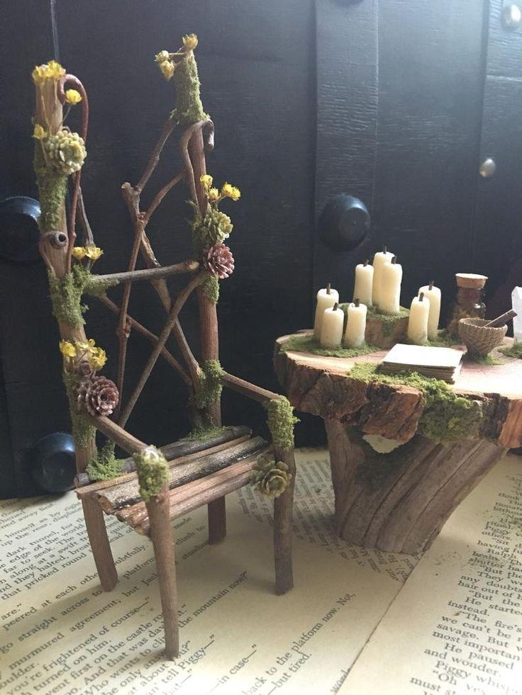 Faery altar table and chair miniature altar fairy