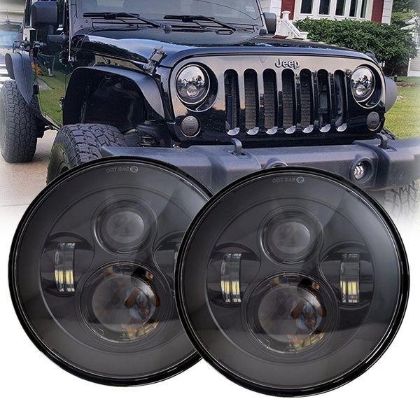 7 Round Black Cree Led Headlight High Low Beam For Jeep Wrangler Jk Tj Lj Cj Hummber H1 H2 Pair En 2020 Jeep Wranglers Jeep Wrangler Jk Accessoires De Jeep Wrangler