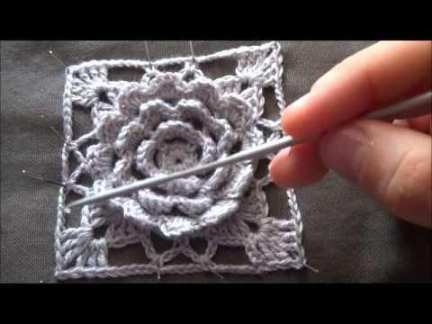 piastrella all'uncinetto con fiore in rilievo tutorial (intro) - YouTube