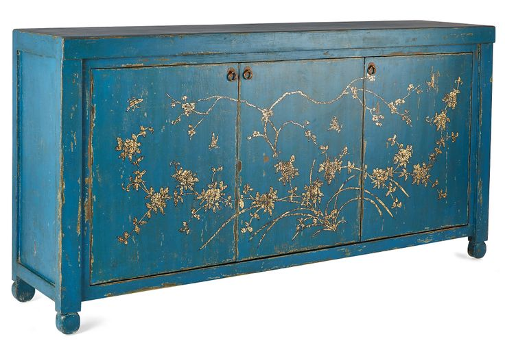 Jago Sideboard, Blue by Madera Home - Chinoiserie painted console - Asian / Oriental / Chinese Antique