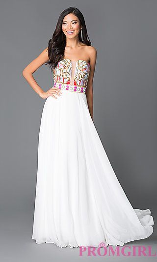 Long White A-Line Beaded Top Prom Dress by JVN by Jovani at PromGirl.com