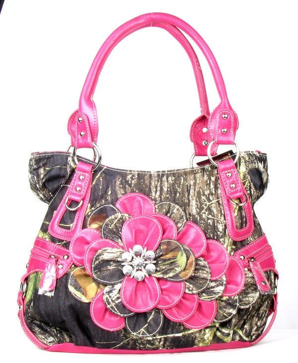 LARGE PINK CAMOUFLAGE CAMO RHINESTONE FLOWER WESTERN PURSE HANDBAG SATCHEL #None #ShoulderBag