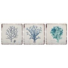 Set of 3 Metal Wall Art - Corals