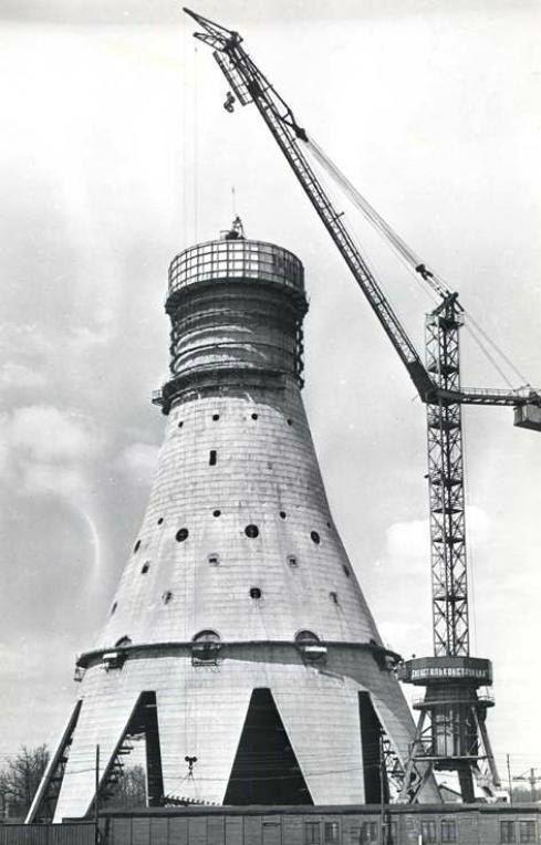 Строительство Останкинской телебашни, 1960–е гг.