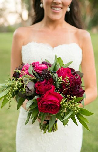 Deep red and berry bridal bouquet | Jewel Tone Wedding Florals That Really Rock via @IBTblog