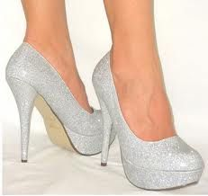 Silver, sparkly heels that would go perfect with bridesmaid dresses!
