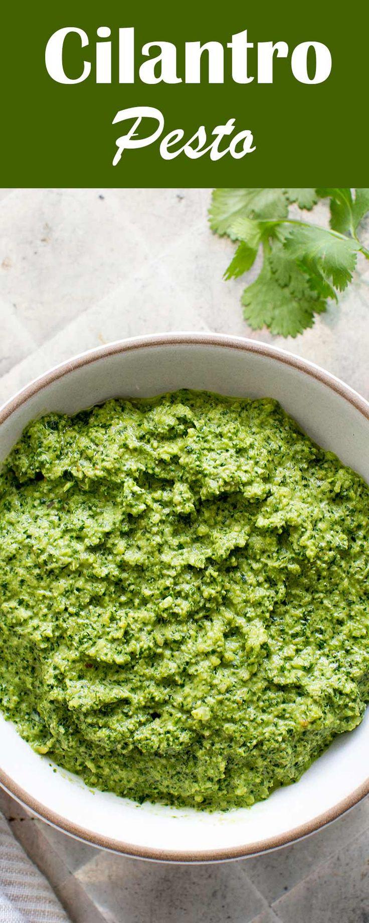 Cilantro Pesto! VEGAN made with fresh cilantro leaves, blanched almonds, red onion, serrano chile and olive oil.