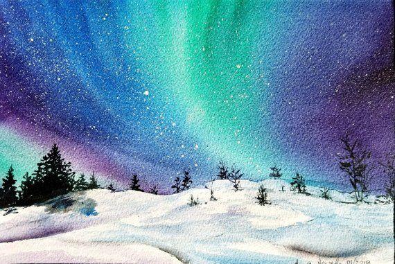 Matted 11 X 15 Northern Lights Winter Landscape Original Watercolor Painting Handmade Art Wall Decor In 2020 Winter Landscape Painting Northern Lights Watercolor Winter Painting