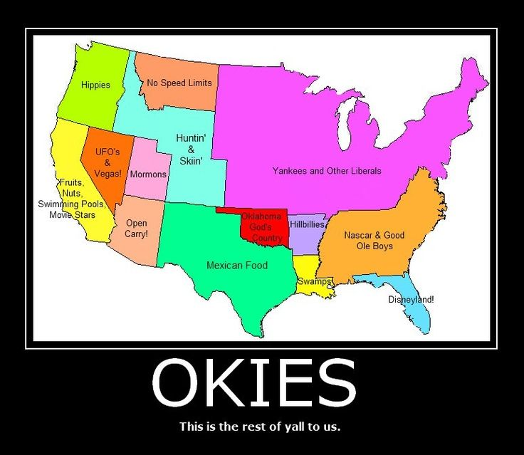 Us Map Funny.Us Map According To Okies Funny Maps Pinterest Funny Maps