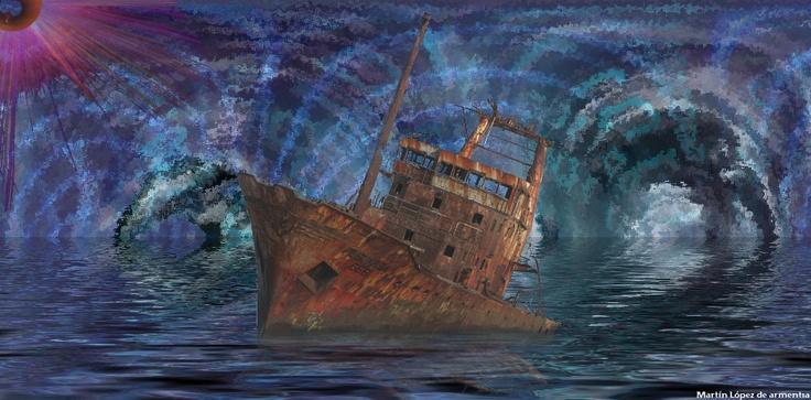 Título: El Barco  Técnica: Dibujo - Fotomontaje  Dimensiones: Ancho 35cm - Alto 17cm  Año de realización: 2011
