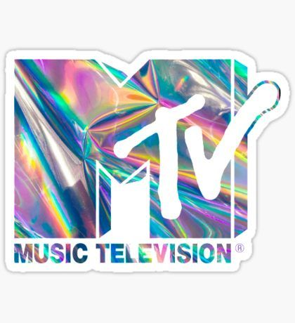 Mtv holographic logo sticker
