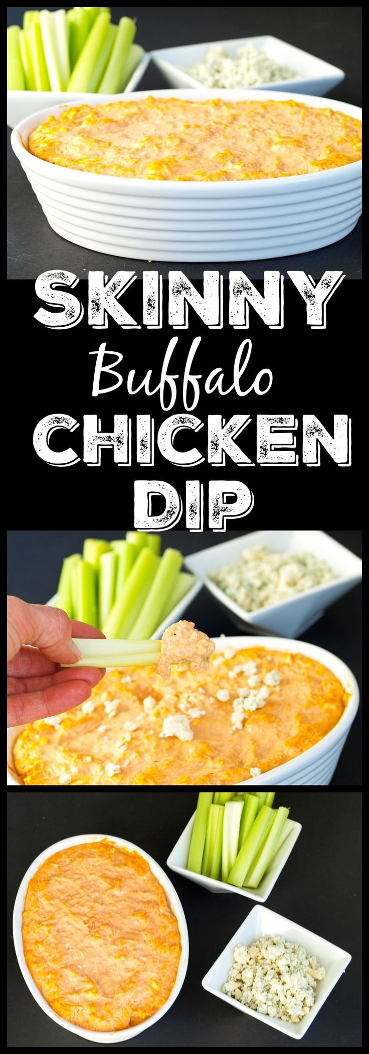 This Skinny Buffalo Chicken Dip is the perfect appetizer for your Super Bowl Party recipe line-up! No one will notice the missing calories or fat.