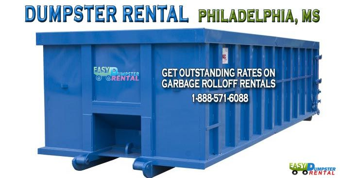 Philadelphia, MS at Easy Dumpster Rental Dumpster Rental in Philadelphia,MS Get Outstanding Rates on Garbage Rolloff Rentals! Click To Call 1-888-792-7833Click For Email Quote We Rent the Best Priced Dumpsters in Philadelphia: Renting a bin from us in Philadelphia is a great business decision. No one can match our prices our service ... https://easydumpsterrental.com/mississippi/dumpster-rental-philadelphia-ms/