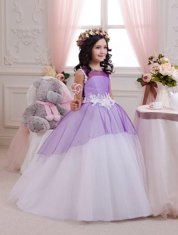 Weiße und lila Blumenmädchen Kleid - Hochzeitsfeier Feiertags Geburtstag Brautjungfer Blumenmädchen Weiße und blaue Tüll Kleid