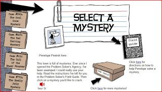 Online Game for Middle School Language Arts. Interactive mysteries teach problem solving.