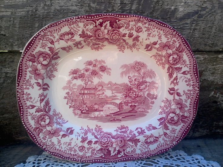 Platter, Red Transferware, Clarice Cliff, Royal Staffordshire, English Transferware, Tonquin, 1930s, Serving by CottonCreekCottage on Etsy