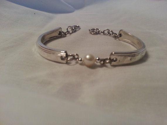 Freshwater Pearl Spoon Bracelet Silverware by jamessilverspoon