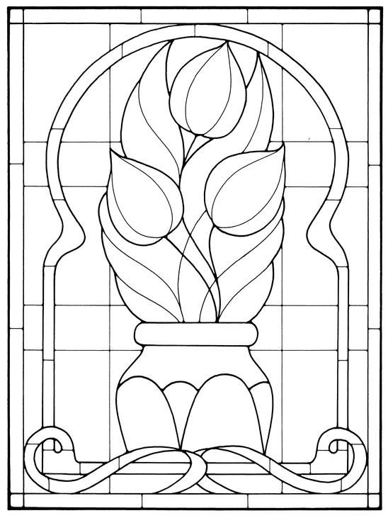 Art Nouveau Stained Glass Tulips in vase