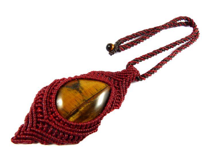 Tigerauge - Tigerauge Anhänger Halsband Makramee Rot Thailand - ein Designerstück von Valadda bei DaWanda