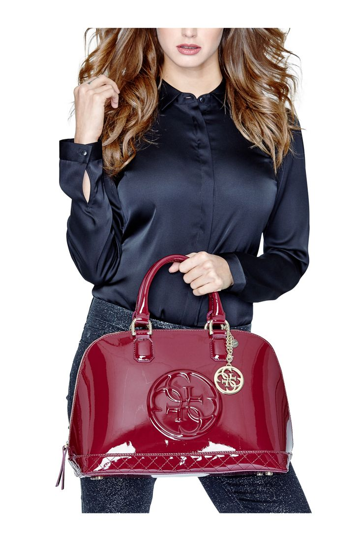 For the Icon: Amy Quattro G Patent Dome Satchel | GUESS.com #GUESSHoliday