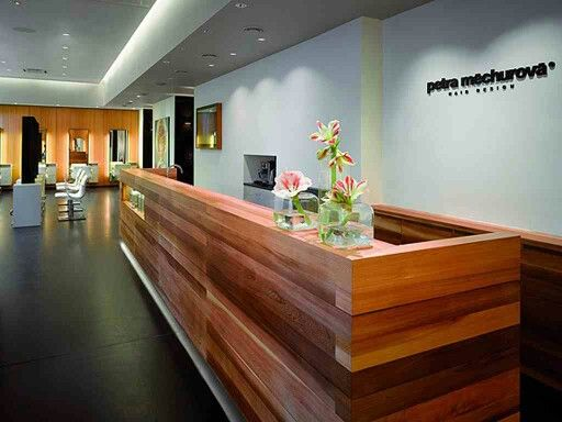 Love The Wood On This Front Desk. Stacked Beams