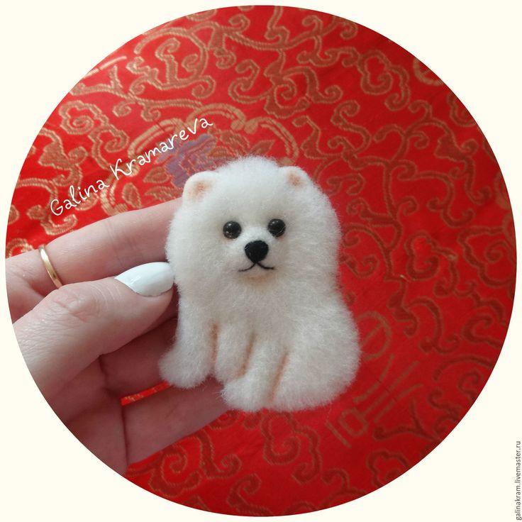 Купить шпиц - белый, шпиц, собачка, собака из шерсти, собака валяная, Валяние
