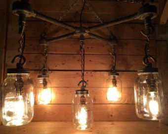 Hanging Mason Jars in an  X  Formation industrial steampunk ceiling light  with vintge cables108 best Lounge images on Pinterest   Lounges  Sofas and Corner sofa. Lounge Lighting. Home Design Ideas