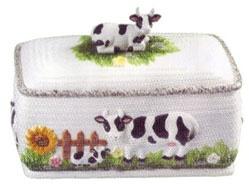 Cow Bread Box   Ceramic 13x7x8